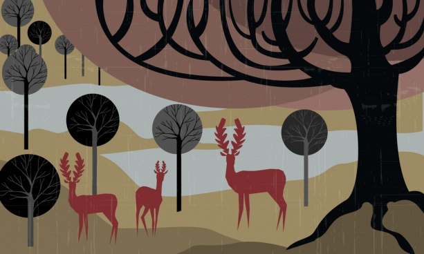 wildlife background reindeer tree icons silhouette style