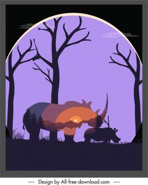wildlife background rhino scenery sketch dark blurred silhouette