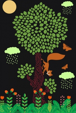wildlife background tree fox butterflies icons cartoon design