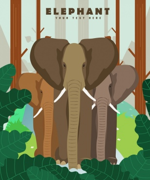 wildlife banner elephant icons multicolored design