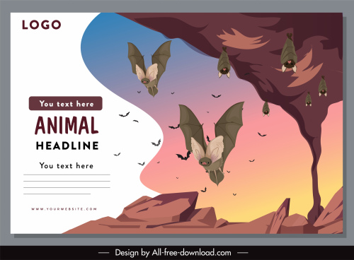 wildlife banner template bat species sketch cartoon design