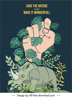 wildlife banner template rhino leaves hand sketch