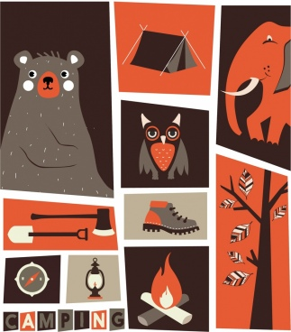 wildlife camping design elements classical cartoon icons