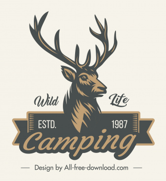 wildlife camping logo retro reindeer sketch