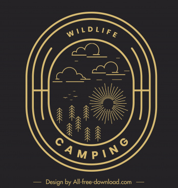 wildlife camping logotype dark flat nature elements sketch