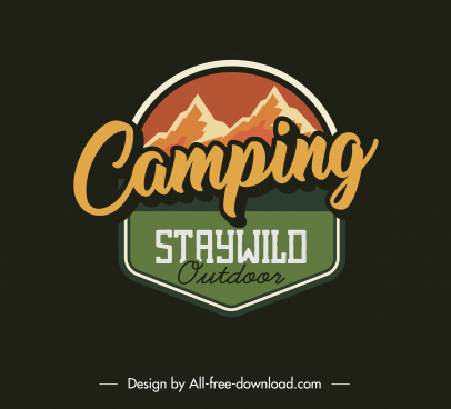 wildlife camping logotype mountain sketch flat classic