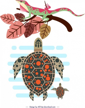 wildlife design elements gecko tortoise leaves icons