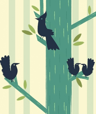 wildlife drawing black birds tree icons flat sketch