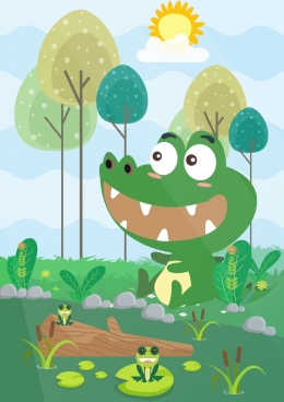 wildlife drawing crocodile frogs icons cute cartoon design