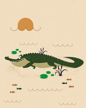 wildlife drawing crocodile icon colored cartoon design