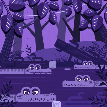 wildlife drawing crocodile pond forest icons violet decor