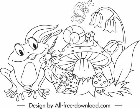 wildlife drawing cute cartoon sketch black white handdrawn