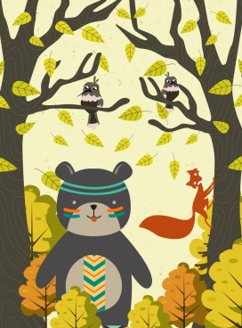 wildlife drawing cute tribal bear fox birds icons