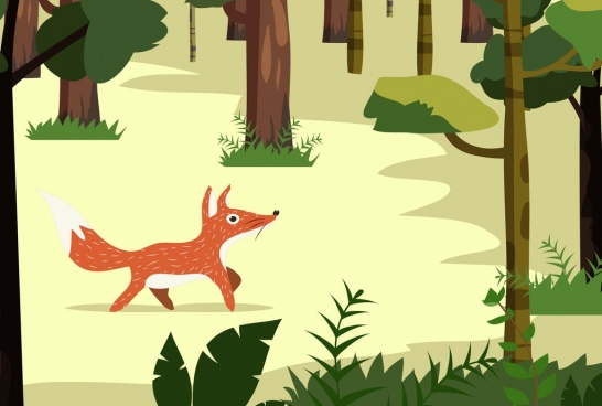 wildlife drawing fox tree icons cartoon design