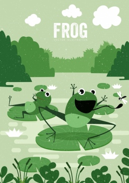wildlife drawing frog icons green retro cartoon