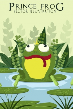 wildlife drawing green frog icon colored cartoon