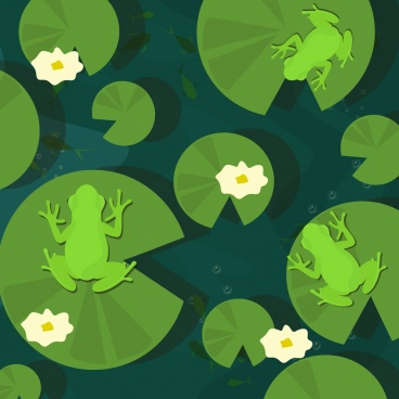 wildlife drawing green frog lotus leaves decoration