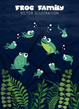 wildlife drawing swimming frogs colored cartoon design