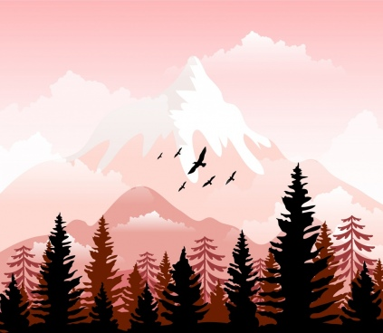 wildlife landscape background mountain forest birds icons decor