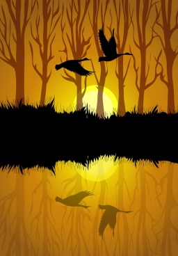 wildlife landscape painting dark silhouette reflection decor