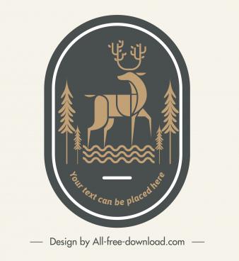 wildlife logotype reindeer sketch dark flat retro design