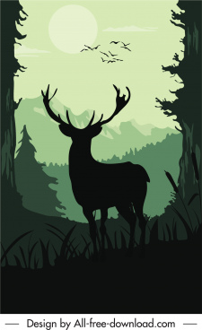 wildlife painting dark silhouette design reindeer sketch