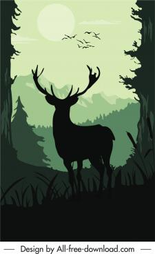 wildlife painting dark silhouette design reindeer sketch