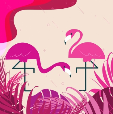 wildlife painting flamingo icon pink decor