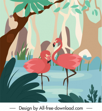 wildlife painting flamingo sketch handdrawn classic