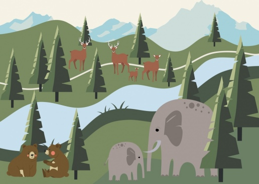 wildlife painting forest scenery animal icons decor