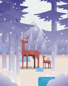 wildlife painting reindeer forest snowfall icons cartoon design