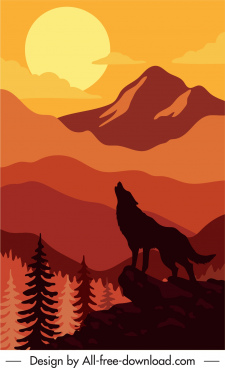 wildlife painting wolf mountain moonlight sketch silhouette decor