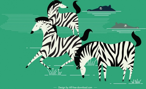 wildlife painting zebra crocodile icons colored classical design