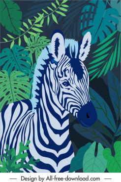 wildlife painting zebra leaves sketch dark classic
