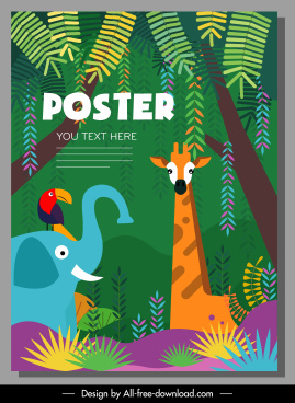 wildlife poster animals jungle sketch colorful flat design