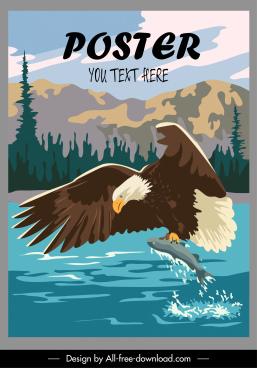 wildlife poster dynamic hunting eagle sketch