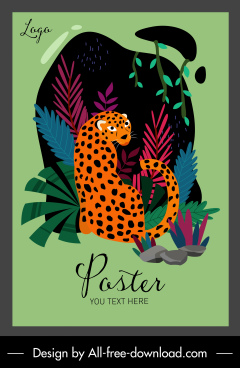 wildlife poster leopard sketch colorful classic design