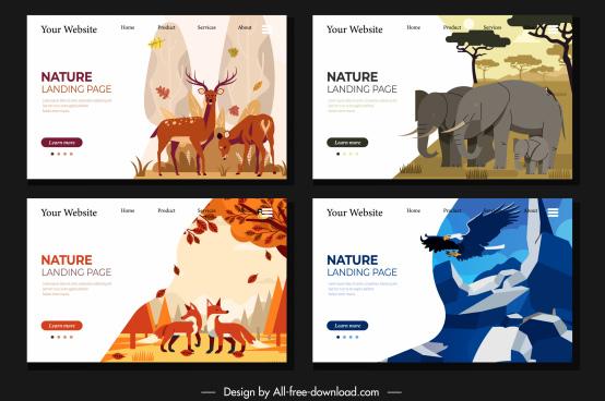 wildlife webpage templates reindeers elephant fox eagle sketch