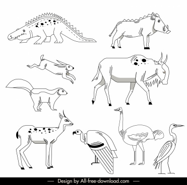 wilds animals species icons black white handdrawn