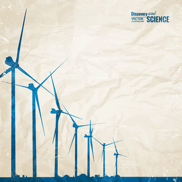 wind power generate electricity with crumpled paper vector background
