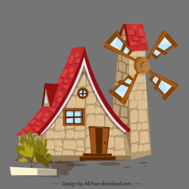 windmill house icon colored classic sketch