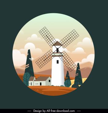 windmill scenery background bright colorful elegant design