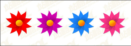 Windmill shape of small flowers vector material