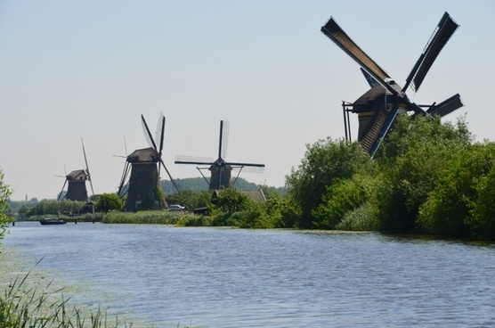 windmills holland canals