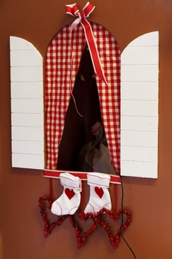 window and christmas stocking