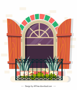 window balcony template colorful classic elegant decor