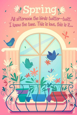 window bird and flower vector