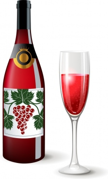 wine advertisement banner colored bottle glass decoration