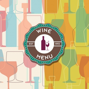 wine advertising background colorful flat bottle glass icons