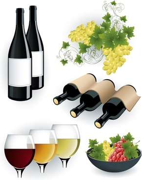 wine advertising background bottles grape icons colored 3d